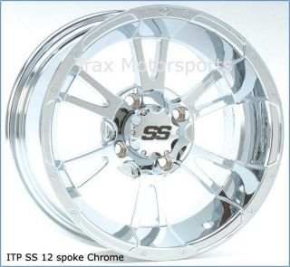 12 ATV Chrome Wheels Rim Set ITP SS112 Big Red Muv UTV