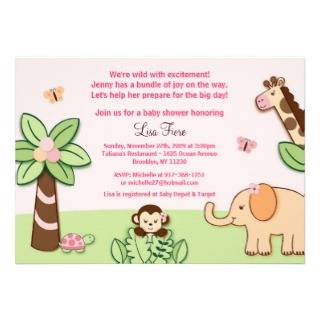 Girly Jungle Animal Custom Baby Shower Invitations