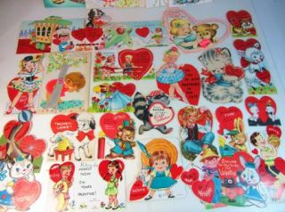 Vintage Lot of 32 Valentines Day Cards Childrens Adult