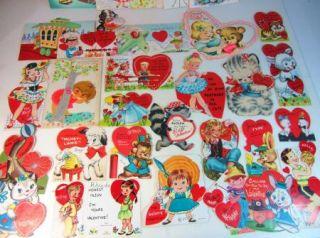 Vintage Lot of 32 Valentines Day Cards Childrens Adult