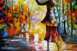 Leonid Afremov Windy Night Umbrella Rain Original Oil Painting on