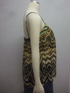 Lily White  Brown Black Animal Print Macrame Sheer Camisole