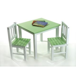 Lipper International Kids Table and Chair Set in Green and White