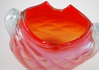 Hand Blown Red Signed Rodman Miller Glass Vessel Vase Tiffanys