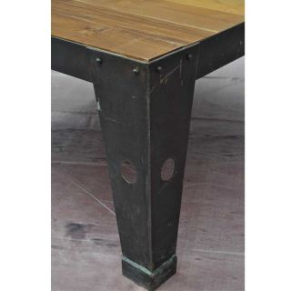 Teak Wood Iron Metal Industrial Cart on Wheels Coffee Table
