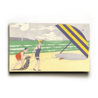 Graphic of Couple on Beach with Umbrella Wood Sign