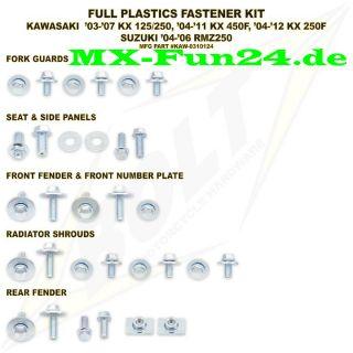 Kit Verkleidung Plastik Kawasaki KX 125 250, KXF 450, KXF 250, RMZ 250