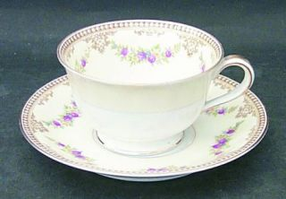 Noritake Estrella Footed Cup & Saucer Set, Fine China Dinnerware   Floral Swags