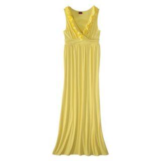 Merona Womens V Neck Ruffle Maxi Dress   Yellow Ray   M