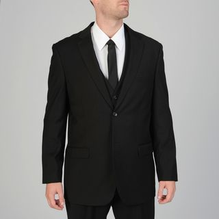 Caravelli Mens 3 piece Black Vested Suit