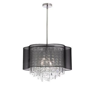Dainolite DAI ILL 144C PC 815 illusion 4 Light Chandelier With Black Lam Organza