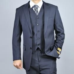 Mens Black Wool/ Silk Vested Suit