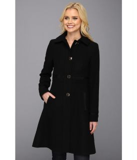 Ivanka Trump Single Breasted Military Grosgrain Coat Womens Coat (Black)