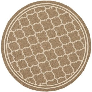Safavieh Indoor/ Outdoor Courtyard Brown/ Bone Rug (4 Round)