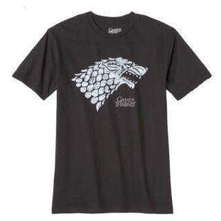 Mens Game of Thrones Stark Wolf Tee Shirt   Black XL