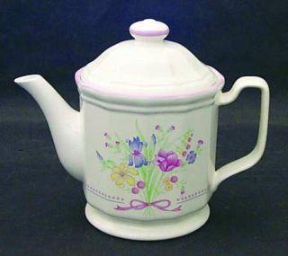 Sarma Studios Victorian Flowers Teapot & Lid, Fine China Dinnerware   Floral, Pi