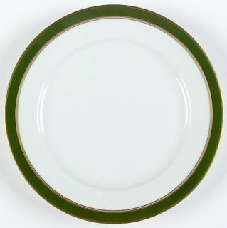 Heinrich   H&C Michaela Salad Plate, Fine China Dinnerware   Green Band, Gold Tr