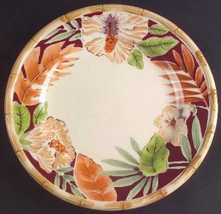 Home Trends Hibiscus Dinner Plate, Fine China Dinnerware   Bamboo Edge,Ferns,Flo