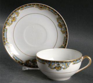 Noritake Normandie (Pat 68480) Flat Cup & Saucer Set, Fine China Dinnerware   Pa