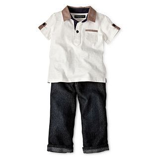 Wendy Bellissimo 2 pc. Polo Shirt and Pant Set   Boys 6m 24m, Cream, Boys