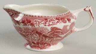 Thomas Hughes Avon Cottage Pink Creamer, Fine China Dinnerware   Pink Scene & Fl