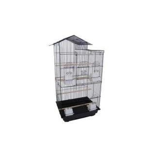YML Villa Top Small  Bird Cage with 4 Feeder Doors 6894 Color Black
