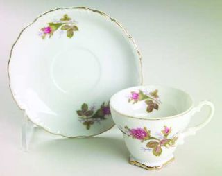 Royal Sealy Moss Rose Footed Demitasse Cup & Saucer Set, Fine China Dinnerware