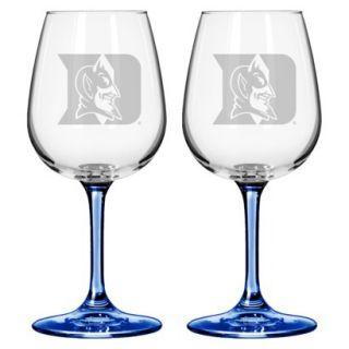 Boelter Brands NCAA 2 Pack Duke Blue Devils Satin Etch Wine Glass   12 oz