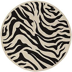 Hand tufted Black/white Zebra Animal Print New Zealand Wool Rug (79 Round)