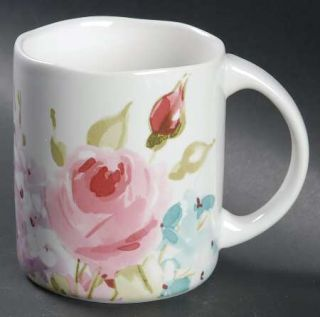 222 Fifth (PTS) Floral Fete Mug, Fine China Dinnerware   Floral,Scalloped,Square