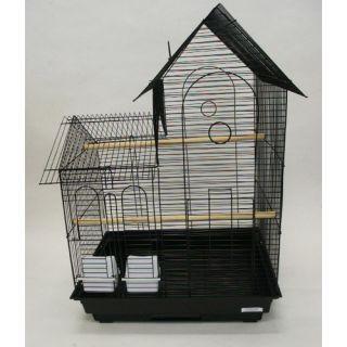 YML Villa Top Small  Bird Cage with 2 Feeder Doors 1944 Color Black