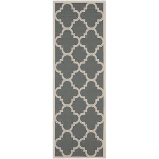 Safavieh Indoor/outdoor Geometric Courtyard Grey/beige Rug (23 X 10)