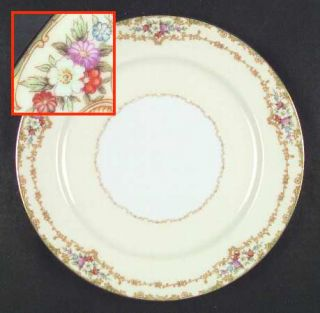 Noritake Roberta Dinner Plate, Fine China Dinnerware   Green Edge,Floral & Gold