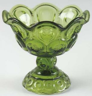 Smith Glass  Moon & Star Green Crimped Round Compote (Height X Width)   Dark Gre