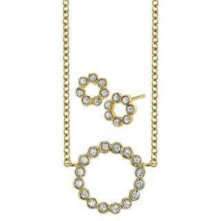 CZ Circle Ear And CZ Circle Necklace Set   Gold
