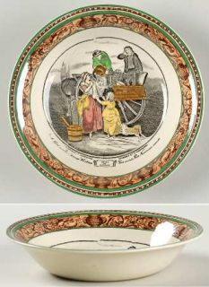 Adams China Cries Of London (Green & Brown Rim) Fruit/Dessert (Sauce) Bowl, Fine