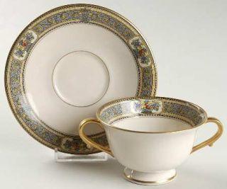 Morgan Belleek (USA) Orient Footed Bouillon Cup & Saucer, Fine China Dinnerware