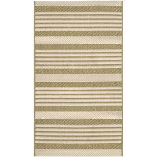 Safavieh Striped Indoor/ Outdoor Courtyard Green/ Beige Rug (27 X 5)
