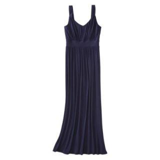 Merona Womens Knit V Neck Ruched Waist Maxi Dress   Xavier Navy   S