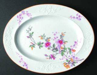 Spode Roberta Orange (Smooth) 13 Oval Serving Platter, Fine China Dinnerware