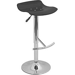 Wave Transparent Black Acrylic Adjustable Barstool (Transparent blackMaterials: Acrylic, chromeHardware finish: Chrome 360 degree swivelContoured seatSeat height: Adjusts from 22 to 32 inchesOverall Dimensions: 34 inches high x 15 inches wide x 16 inches