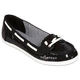 Arizona Harbor Sequin Boat Shoes, Black, Womens