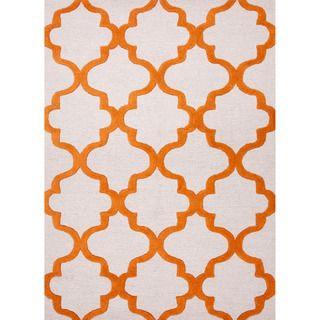 Hand tufted Contemporary Geometric Orange Rug (96 X 136)