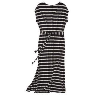 Merona Womens Plus Size Short Sleeve V Neck Maxi Dress   Black/Cream 1