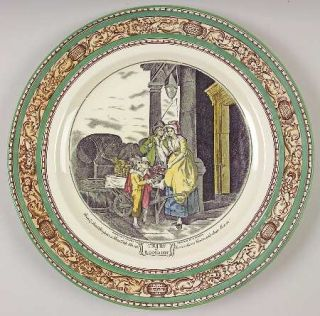 Adams China Cries Of London (Green & Brown Rim) Dinner Plate, Fine China Dinnerw
