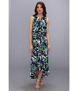 Donna Morgan Crepe De Chine Blouson Maxi with Keyhole Neckline Womens Dress (Multi)