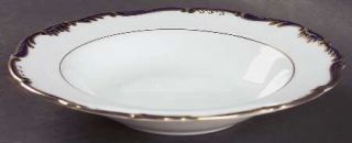 Coalport Admiral Cobalt Blue Rim Soup Bowl, Fine China Dinnerware   Gold Scroll