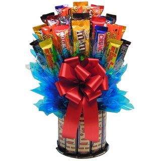Heath N More Large Chocolate/candy Bouquet (Red/ blueIncludes 11 large Heath bars, 23 fun size assorted chocolate barsWeight 2 pounds, 2 oz.Due to the perishable nature of food items, returns are not accepted by state law.  )