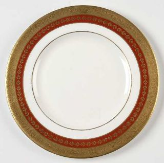 Minton Imperial Gold  Red & Gold Salad Plate, Fine China Dinnerware   Gold Leaf
