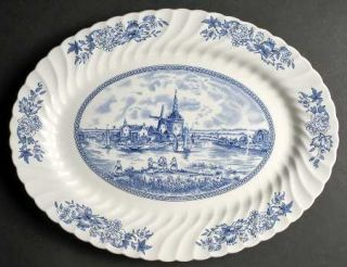 Johnson Brothers Tulip Time Blue (White Background) 15 Oval Serving Platter, Fi